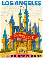 Anaheim Disneyland Go Greyhound California Vintage Travel Advertisement Poster
