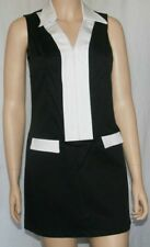 New Mod style sleeveless dress faux pockets zip front collared v neckline Medium