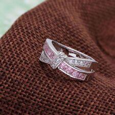 Anello TAGLIA K 9 kt oro bianco riempito Zaffiro Rosa eternità REGALO ESTATE Valentine