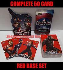 Upper Deck Captain America Civil War Complete 50 Card Retail Exclusive Red Set