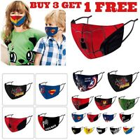 Adjustable KIDS Face Mask Reusable Washable Superman Marvel Spiderman Face Cover