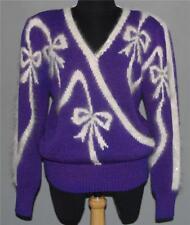 VTG Christine Sequin Beads Angora Accents Purple & White Sweater Wm M EXC WORN?