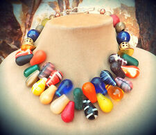 Mali Wedding Beads Africa Trade Jewelry Rainbow Glass Lapis Gem Necklace Antique