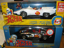 AMERICAN MUSCLE SPEED RACER WHITE & LIMITED EDITION CHROME MACH 5 1/18 DIECAST