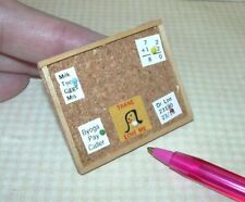Miniature Framed Cork Bulletin Board w/Memos:  DOLLHOUSE School or Office 1/12