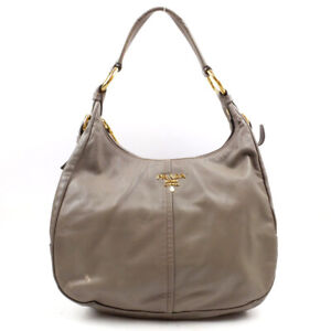 PRADA Leather Handbag Gray Gold Hardware