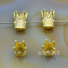 Zircon Gemstones Pave King Crown Bracelet Connector Charm Beads Silver Gold Rose
