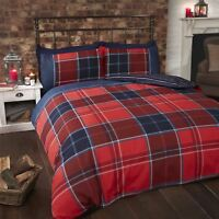 TARTAN CHECK STRIPE RED BLUE WHITE COTTON BLEND SINGLE DUVET COVER