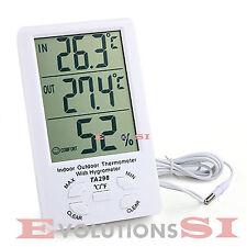 TERMOMETRO DIGITAL INTERIOR Y EXTERIOR LCD TEMPERATURA HUMEDAD MEDIDOR