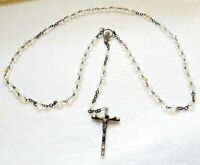 "Vintage Italy Catholic Rosary, Crystal Clear Glass Bead Necklace, 18"" long"