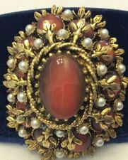 Filigree Unsigned Beauty Root Beer Glass Stone Faux Pearl Brooch GREAT CABOCHON