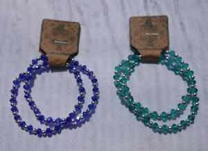 2 HANDMADE FACETED GLASS BEAD & SILVER BALL STRETCH BRACELETS STACKING  (129)