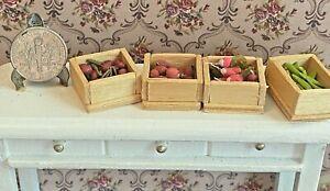 Vintage Dollhouse Handmade Filled Fruit Vegetable Crates Miniatures 1:12 Stand