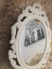 White Vintage Framed Oval Small Mirror