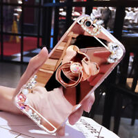 Luxury Bling Diamond Crystal Ring Stand Mirror Case Cover For iPhone X XS Max XR