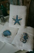 Set of 3 beautiful nautical beach embroidered hand towels