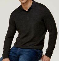 $115 Club Room Mens Classic-Fit Gray Long-Sleeve Merino Wool Polo Button Shirt S