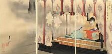 Emperor Godaigo Dreaming of Ghosts In His Palace Japan Gekko 1890 7x3 Inch Print