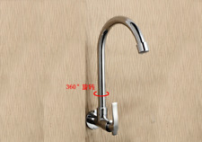 Brass Chrome Kitchen Sink Faucet Single Hole/Handle Wall Mounted Only Cold Tap