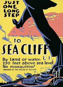 Just One Long Step to Sea Cliff Long Island Tourism Vintage Poster Repro FREE SH