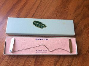 New solid 925 sterling silver baby Diaper pins Coles Waller jewel Sweater Guard