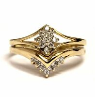 14k yellow gold .27ct VSG engagement ring wedding band diamond cluster ring 3.6g