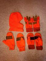 Blaze Orange Hunting Mittens, Gloves & Hat