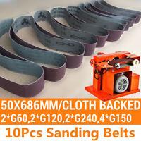 10Pcs/Set 60/120/150/240Grit 50x686mm Sanding Belts Grinding Polish Tool Durable