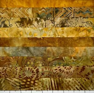 LOT OF 9 BY THE COLOR GOLD MUTED FAT QUARTERS BATIK LUNN FABRIC FAT QUARTER