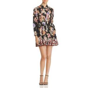 Feathers by Tolani Womens Aniya Black Floral Print Shirtdress Tunic XS BHFO 7193