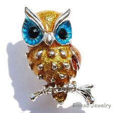 Lovely Enamel Big Eye Owl Animal Crystal Rhinestone Brooch Pins Women/Girl Gifts