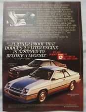1984 Shelby Dodge Charger & Charger 2.2 Original advert