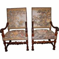 Antique Pair of Early 20th Century French Carved Fauteuil Tapestry Armchairs
