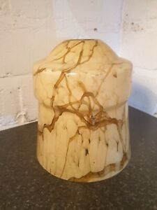 VINTAGE MID CENTURY 1950s60s MUSTARD YELLOW WITH SWIRL GLASS CEILING LIGHT SHADE