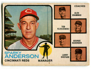 1973 OPC Sparky Anderson Card #296 Cincinnati Reds Manager