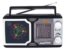 QFX R-14 AM/FM/TV/SW1-SW9 12-Band Portable Mini Radio +Disco Light Speaker