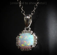 "14K White Gold Opal & .05 CTW Diamond HALO 18"" Necklace Set 6MM or 0.84 CTW Opal"