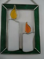 """Twin Holiday Candles Stained Glass Suncatcher 7 1/2"""" x 6"""""""