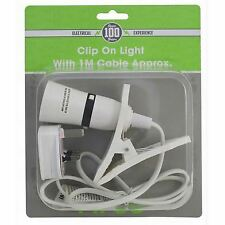 Clip on Spot Light Holder Portable Flexible Bulbs 1m Metre Cable 3 Pin Uk Mains