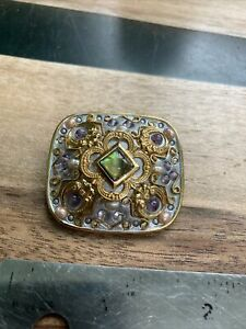 Vintage Michal Golan Brooch Pendant Pearl Abalone Gold Silver Pin