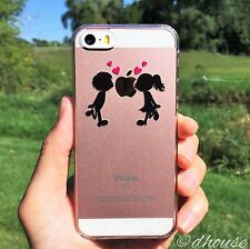MADE IN JAPAN Hard Shell Clear Case Little Couple Love Kiss for iPhone SE/5S/5