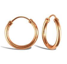 Fashion 9ct Rose Gold Solid Womens Diamond Cut Hoop Earrings 18.21mm