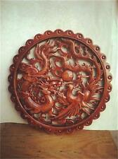 HAND WORK XIANG ZHANG SCULPTOR WOOD CARVED DRAGON AND PHOENIX WALL PANEL