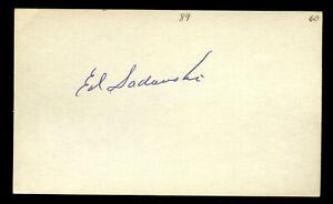 Edward Ed Sadowski (d. 1993) signed autograph Baseball 3x5 Index Card 4087-09