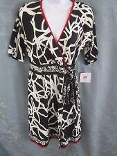 Donna Morgan Dress Size 10P Petite Stretch Knit Faux Wrap Black & Off-White NWT