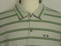 Oakley Mens sz L Gray Green Striped Cotton Poly Short Sleeve Golf Polo Shirt