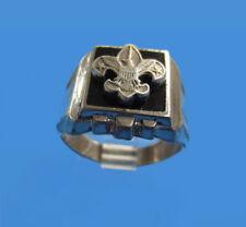 Sterling Silver Boy Scout Fleur De Lis Vintage 1950's Ring  Size 7 -- Ships Free