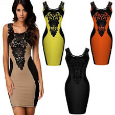 Black Lace Floral Sleeveless Casual Party Clubwear Dress Sexy Elastic Bodycon