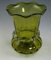 HAND BLOWN OLIVE COLORED ART GLASS VASE, CLEAR BAND AROUND THE NECK, 3-3/4 TALL