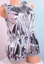 Silver open hole FOIL stunning Sissy dress up L FOIL lingerie Teddy Romper